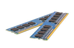 Pair of computer DDR memory modules Stock Photo