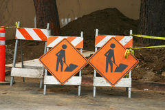 Pair of Construction Signs Royalty Free Stock Photos
