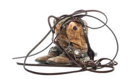 Pair of cowboy boots and bridle royalty free stock photo
