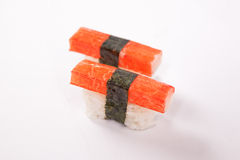 Pair of Crab stick Sushi Royalty Free Stock Photos
