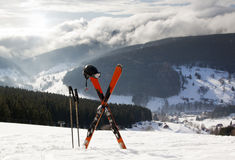 Pair of cross skis in snow, High Mountains Royalty Free Stock Photo