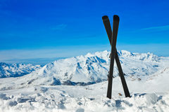 Pair of cross skis in snow. Winter vacations. Europian Als Royalty Free Stock Photo