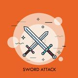 Pair of crossed or clashing swords. Concept of swordsmanship, bladed weapon battle, medieval war attack, fight, armed conflict. Modern vector illustration in Stock Photos