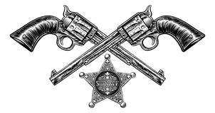 Pistols with Sheriff Star Badge. A pair of crossed pistol hand guns and sheriff star badge in a vintage etched engraved style Stock Photo