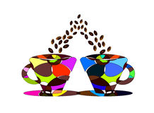 Pair of cups of coffee Stock Image