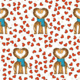 A pair of cute giraffes in love with a common scarf. Neck curved in the shape of heart. Stock Photos