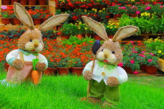 Pair of cute little easter bunnies Royalty Free Stock Images