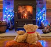 Teddies waiting for Santa Claus royalty free stock photos
