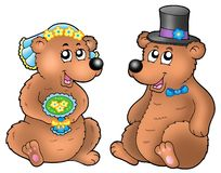 Pair of cute wedding bears Royalty Free Stock Images