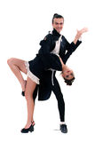 Pair in dance. On a white background Royalty Free Stock Image