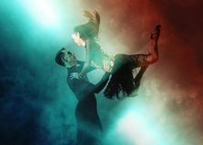 Pair of dancers dancing ballroom Royalty Free Stock Photos