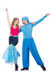 Pair of dancers dancing modern Royalty Free Stock Photo