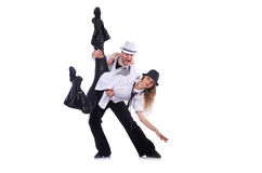 Pair of dancers dancing modern dance isolated Royalty Free Stock Images