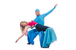 Pair of dancers dancing modern dance isolated Stock Images