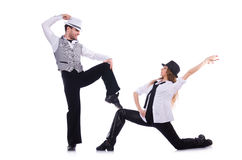 Pair of dancers dancing modern dance isolated Royalty Free Stock Image