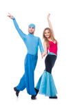 Pair of dancers dancing modern dance isolated Stock Photos