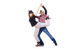 Pair of dancers dancing Royalty Free Stock Photography