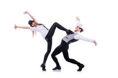 Pair of dancers dancing. Modern dances royalty free stock image