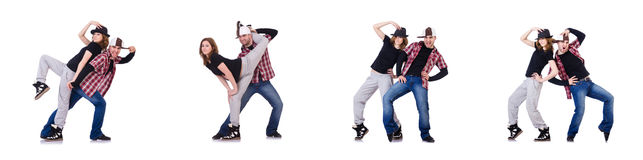 The pair of dancers dancing modern dances Stock Photography