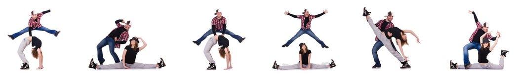 The pair of dancers dancing modern dances Royalty Free Stock Image