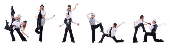 The pair of dancers dancing modern dances Royalty Free Stock Photos