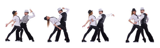 The pair of dancers dancing modern dances Royalty Free Stock Photo