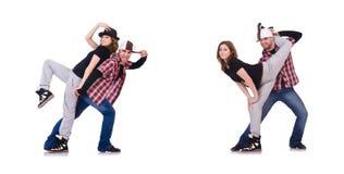 The pair of dancers dancing modern dances Stock Images