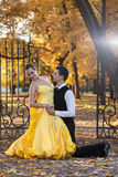 Pair of dancers dancing in the woods. Man with suit, woman in yellow long dress  middle of the palace park in autumn. Dry fallen c Stock Photography
