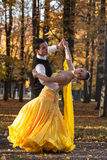 Pair of dancers dancing in the woods. Man with suit, woman in yellow long dress  middle of the palace park in autumn. Dry fallen c Stock Photos