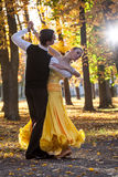 Pair of dancers dancing in the woods Stock Photo