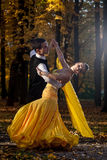 Pair of dancers dancing in the woods. Stock Photos