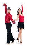 Pair of dancers isolated. On the white Stock Photo