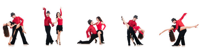 The pair of dancers isolated on the white Royalty Free Stock Photo