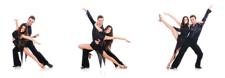 The pair of dancers isolated on the white Royalty Free Stock Images