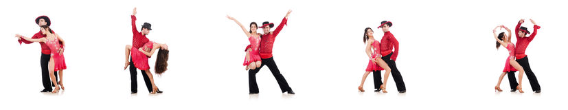 The pair of dancers isolated on the white Royalty Free Stock Photography