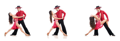 The pair of dancers isolated on the white Stock Photos