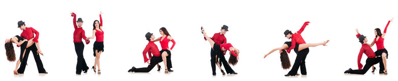 The pair of dancers isolated on the white Stock Image