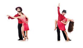 The pair of dancers isolated on the white Stock Images