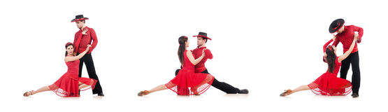 The pair of dancers isolated on the white Stock Photo