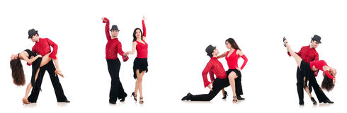 The pair of dancers isolated on the white Stock Photography