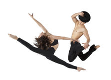 Pair of dancing contemporary dance. In black body Royalty Free Stock Photo