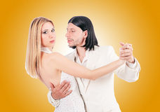 Pair dancing dances against the gradient Royalty Free Stock Image