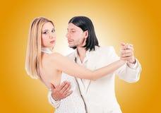 Pair dancing dances against the gradient Royalty Free Stock Image
