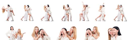 The pair dancing dances isolated on white Royalty Free Stock Photography