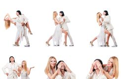The pair dancing dances isolated on white Stock Photos