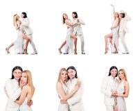 The pair dancing dances isolated on white Royalty Free Stock Photo