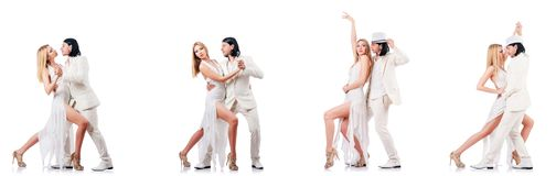 The pair dancing dances isolated on white Royalty Free Stock Image