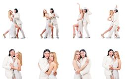 The pair dancing dances isolated on white Stock Photography