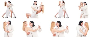 The pair dancing dances isolated on white Royalty Free Stock Images