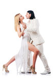 Pair dancing dances isolated Stock Photo